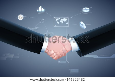 businessmen handshaking on business graph in background showing deal - stock vector