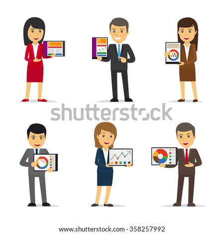 Businessmen holding tablet PC showing chart - stock vector