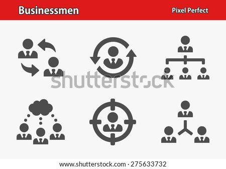 Businessmen Icons. Professional, pixel perfect icons optimized for both large and small resolutions. EPS 8 format. Designed at 32 x 32 pixels.  - stock vector