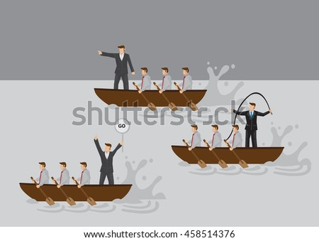 Businessmen in boat rowing competition with leaders using different leadership styles to motivate team. Cartoon vector illustration for business metaphor on types of leaders and leadership styles.