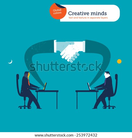 Businessmen in different parts of the world shaking hands with laptops. Vector illustration Eps10 file. Global colors. Text and Texture in separate layers.