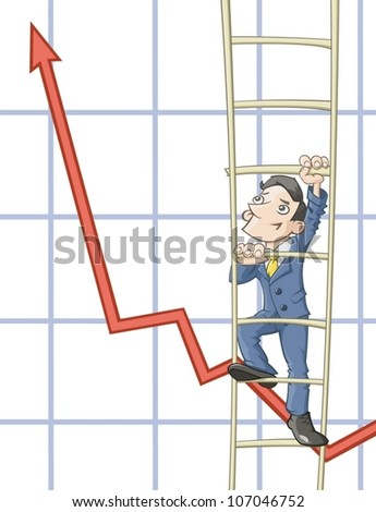Businessmen is climbing up on a ladder - stock vector