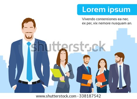 Businessmen Leader Boss with Group of Business People Team Flat Vector Illustration - stock vector
