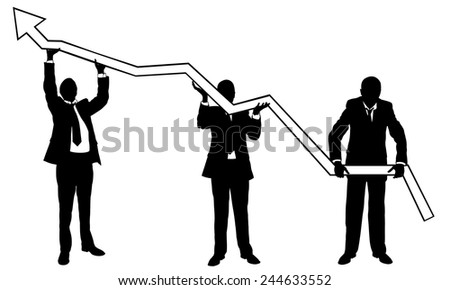businessmen lifting a graph - stock vector