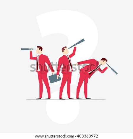 Businessmen, looks through a telescope. Vector business concept illustration. - stock vector