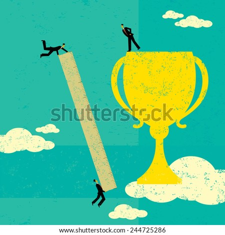 Businessmen measuring success A business team using a ruler to measure their trophy. The people & trophy and background are on separate labeled layers. - stock vector