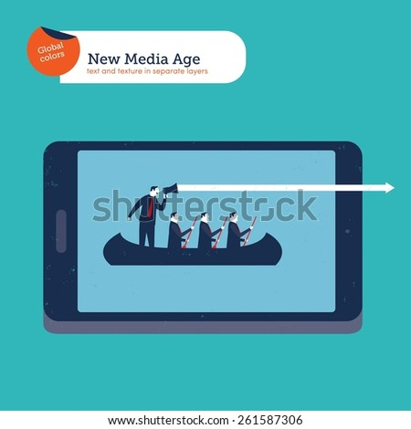 Businessmen on a boat with coach on a digital tablet. Vector illustration Eps10 file. Global colors. Text and Texture in separate layers. - stock vector