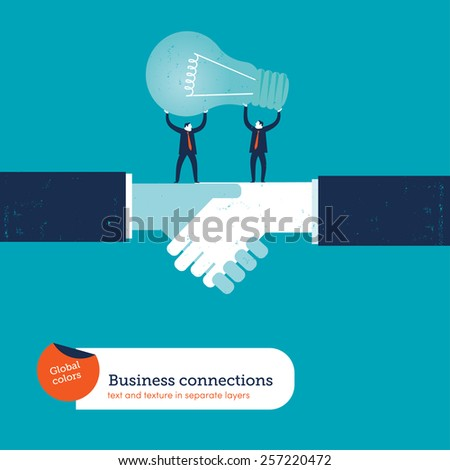 Businessmen on a handshake with bulb. Vector illustration Eps10 file. Global colors. Text and Texture in separate layers. - stock vector
