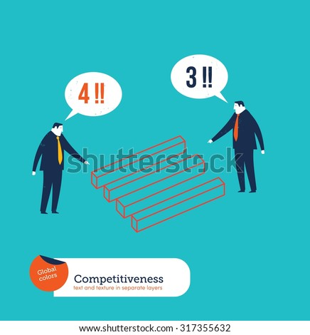 Businessmen one seeing 3 stick the other one seeing 4. Vector illustration Eps10 file. Global colors. Text and Texture in separate layers. - stock vector