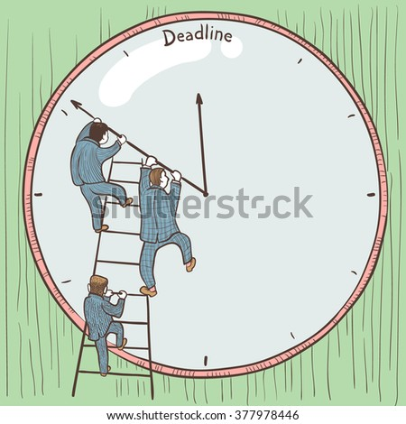 Businessmen prevent the deadline through a change in the position of arrows on the clock. Color version - stock vector
