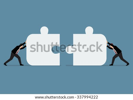 Businessmen pushing two jigsaw pieces together. Business teamwork - stock vector