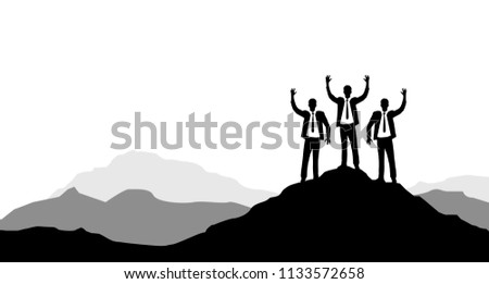 Businessmen raising their hands on a mountain peak. Victory concept. illustration design graphic