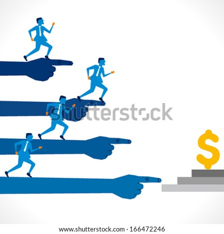 businessmen run for money concept  background vector - stock vector