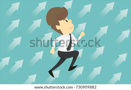 Businessmen run up arrow. Cartoon of business success is the concept of the man characters business, the mood of people, can be used as a background, banner, infographics. illustration vector