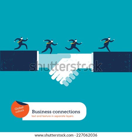 Businessmen running on a handshake. Vector illustration Eps10 file. Global colors. Text and Texture in separate layers. - stock vector