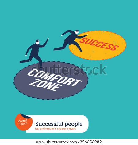 Businessmen running out of the comfort zone to success zone. Vector illustration Eps10 file. Global colors. Text and Texture in separate layers. - stock vector