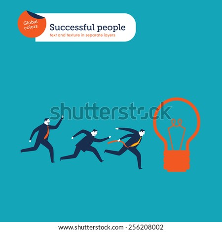 Businessmen running to win a bulb. Vector illustration Eps10 file. Global colors. Text and Texture in separate layers. - stock vector