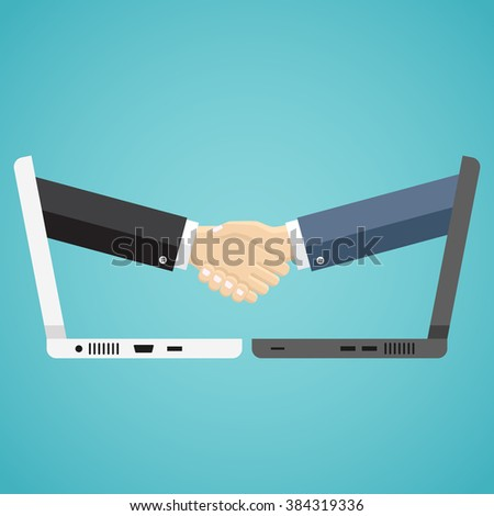 Businessmen shake hands from two computer, Internet business, ecommerce concept.