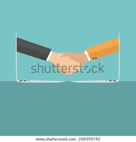 Businessmen shake hands from two computer, Internet business, ecommerce concept, vector - stock vector