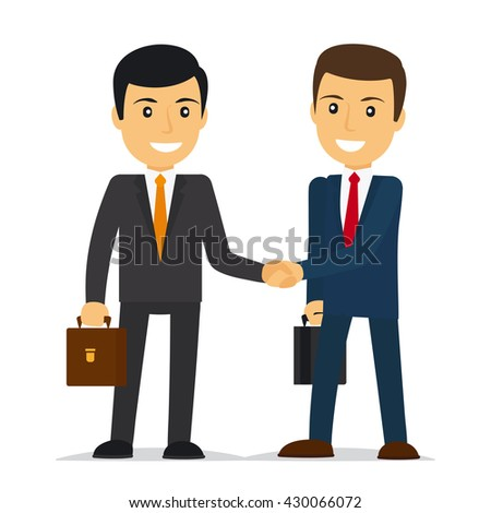Businessmen shaking hands and smiling. Vector illustration - stock vector