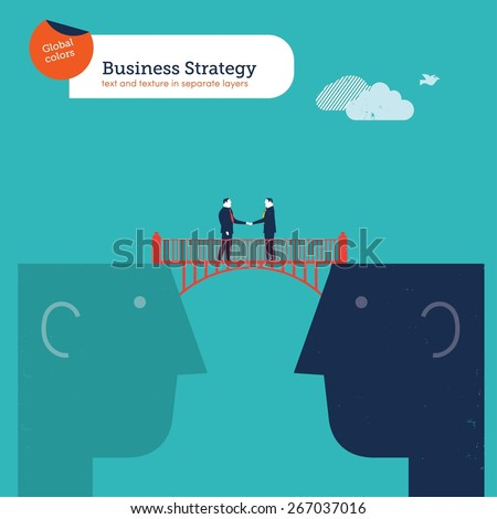 Businessmen shaking hands on a bridge between two heads. Vector illustration Eps10 file. Global colors. Text and Texture in separate layers. - stock vector