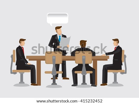 Businessmen sitting around conference table and listening to business presentation. Vector cartoon illustration of board room meeting concept. - stock vector
