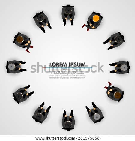 Businessmen sitting in a circle on white background. Vector - stock vector