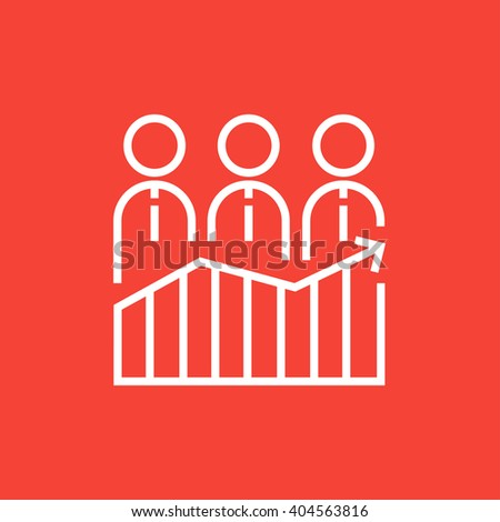 Businessmen standing on profit graph line icon. - stock vector