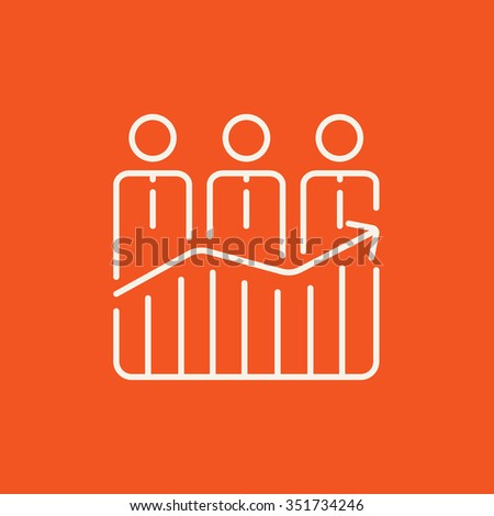 Businessmen standing on profit graph line icon for web, mobile and infographics. Vector white icon isolated on red background. - stock vector