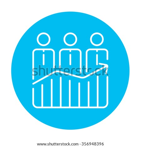 Businessmen standing on profit graph line icon for web, mobile and infographics. Vector white icon on the light blue circle isolated on white background. - stock vector