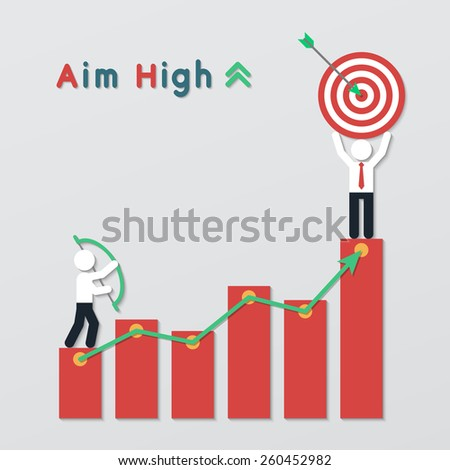 businessmen standing on red graph bar stand holding bow and target. aim high business plan concept in modern flat style. vector. - stock vector