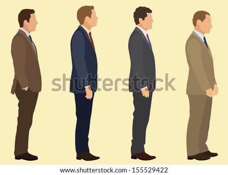 Businessmen waiting in line. - stock vector