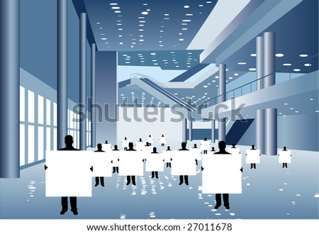 businessmen with board for text silhouette in business center vector - stock vector