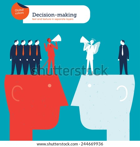 Businessmen with demon and angel coaches on heads. Vector illustration Eps10 file. Global colors. Text and Texture in separate layers. - stock vector