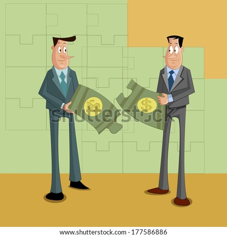 businessmen with dollar puzzle, Problem Solving Concept - stock vector