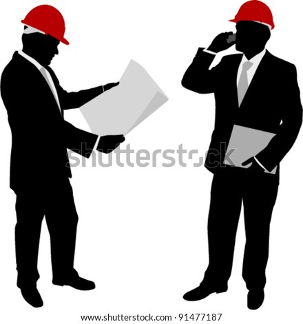 businessmen with hard hat silhouettes - stock vector