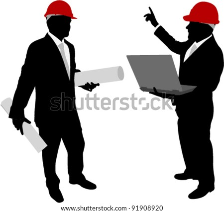 businessmen with hardhat holding plans and laptop - stock vector