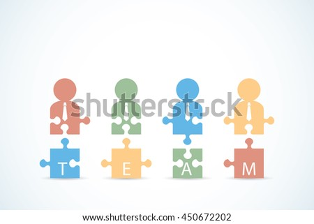 Businessmen with jigsaw puzzle pieces, teamwork and business concept