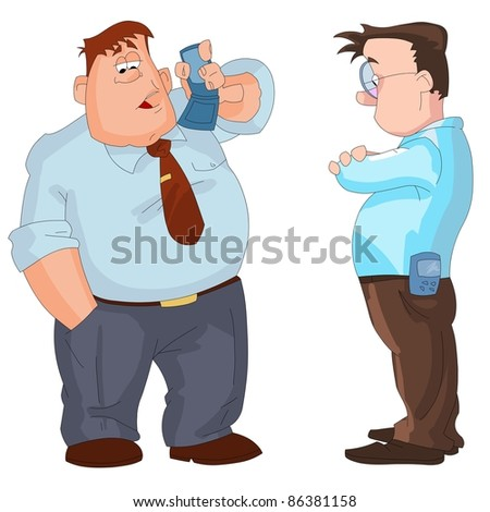 Businessmen with mobile phones. Vector illustration. - stock vector