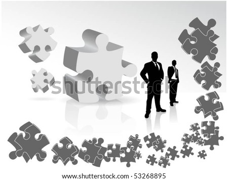 businessmen with puzzle - stock vector