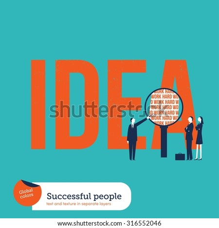 Businesspeople analyzing the ingredients of an idea: hard work. Vector illustration Eps10 file. Global colors. Text and Texture in separate layers. - stock vector