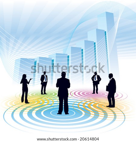 Businesspeople and a large chart in the background, conceptual business illustration.