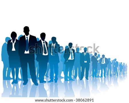 Businesspeople are standing and waiting for something on white background. - stock vector