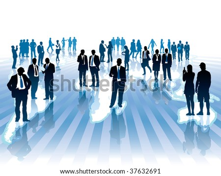 Businesspeople are standing and walking on large world map. The base map is from Central Intelligence Agency Web site. - stock vector