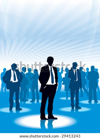 Businesspeople are standing in a virtual space, conceptual business illustration.