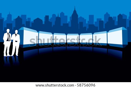 Businesspeople are standing in front of large billboard. - stock vector