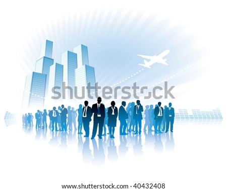 Businesspeople are standing in front of large high buildings. - stock vector