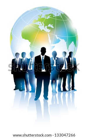 Businesspeople are standing in front of large world map. - stock vector