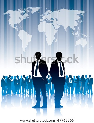 Businesspeople are standing in front of large world map. The base map is from Central Intelligence Agency Web site. - stock vector
