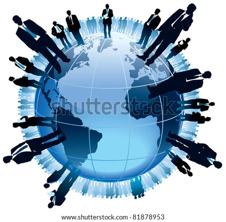Businesspeople are standing on a large world globe, - stock vector